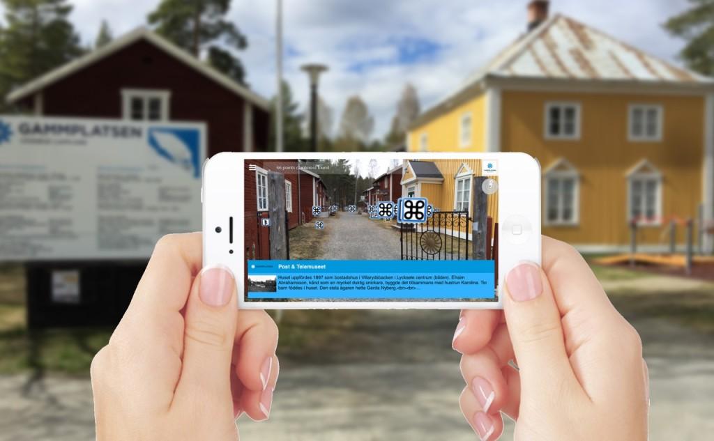 Gammplatsens besökare får information om platsen genom AR och sensorisk data – en tjänst utvecklad i Sense Smart Region-plattformen. Bilden: Sense Smart Region