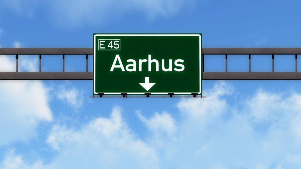 Aarhus Denmark Highway Road Sign